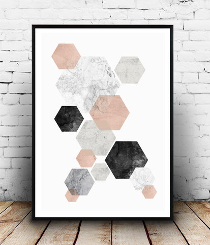 Minimalist wall art, pink and gray abstract print, hexagon decor