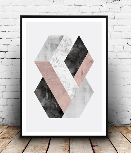 Hexagon print, geometric abstract print, pink and gray