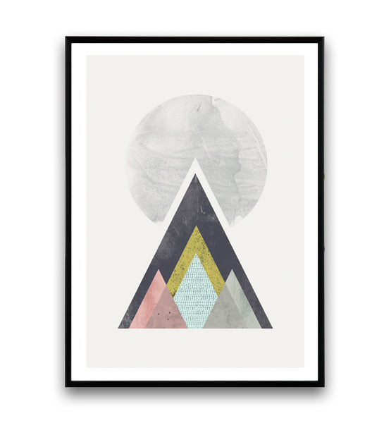 Geometric mountains print, Scandinavian wall art - Wallzilladesign