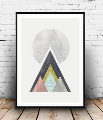 Geometric mountains print, Scandinavian wall art
