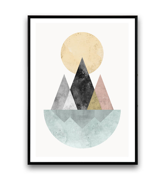 Geometric abstract print, nordic design art, mountains and lake poster - Wallzilladesign