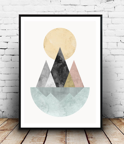 scandinavian desig geometric abstract minimalist watercolor poster print