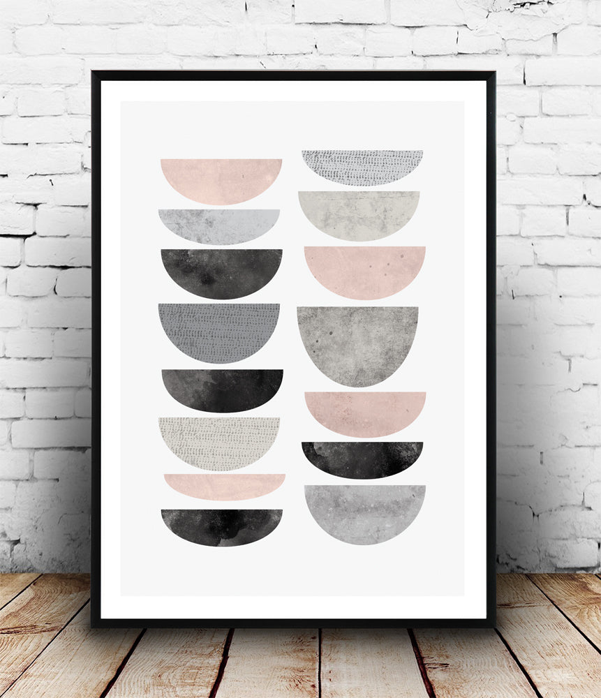 Pink and grey half-circles print - Wallzilladesign