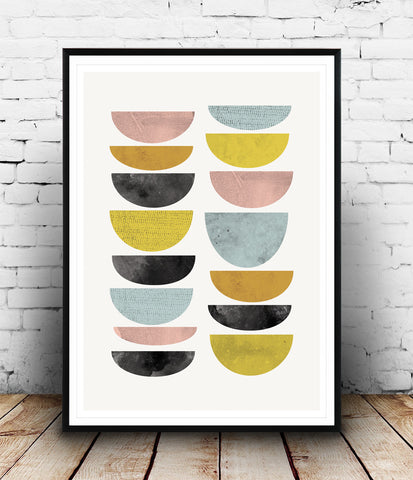 Mid century abstract art, colorful minimalist print, home decor - Wallzilladesign
