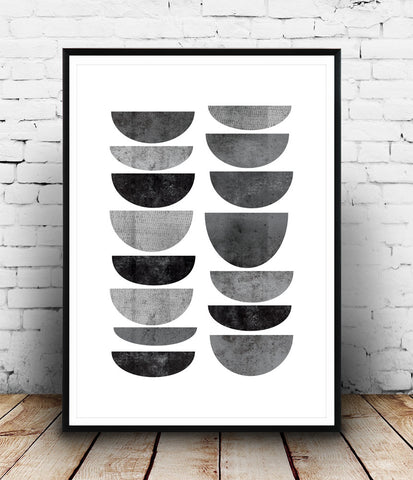 Watercolor geometric print,abstract poster, monochrome wall art - Wallzilladesign
