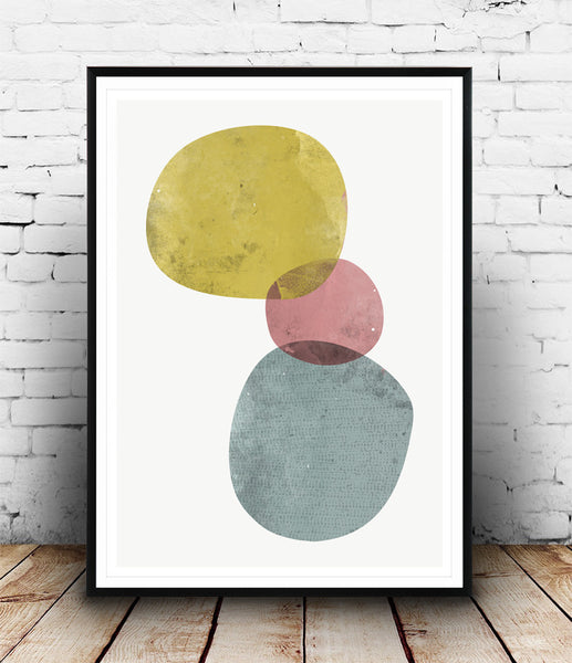 Minimalist abstract print, watercolor art, colorful wall decor - Wallzilladesign