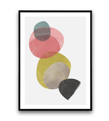 Geometric watercolor print, minimalist circles art