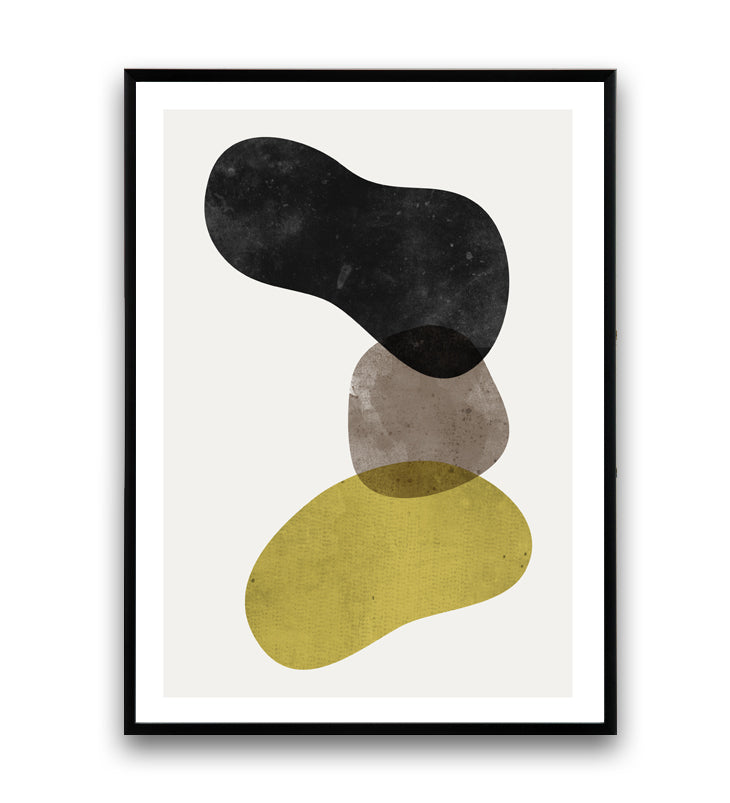 Abstract shapes minimalist art print - Wallzilladesign