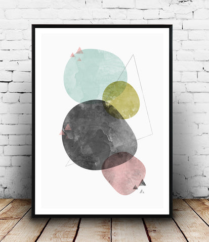 Watercolor geometric art print, abstract nordic decor - Wallzilladesign