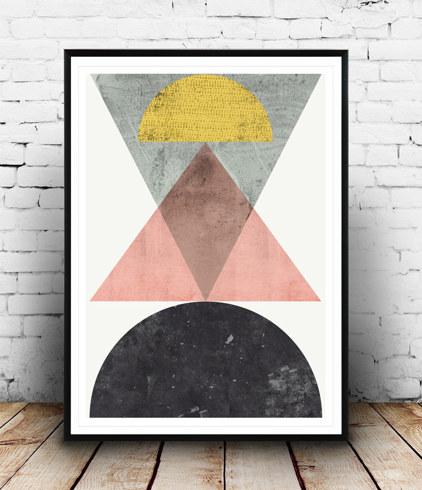 Scandinavian minimalist art, geometric print, abstract poster - Wallzilladesign