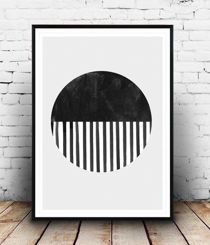 Watercolor circle print, geometric abstract poster, monochrome wall art, stripes print - Wallzilladesign