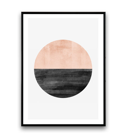 Pink watercolor circle print, abstract wall art