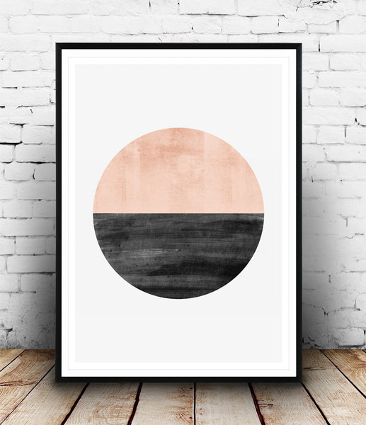 Pink watercolor circle print, abstract wall art - Wallzilladesign