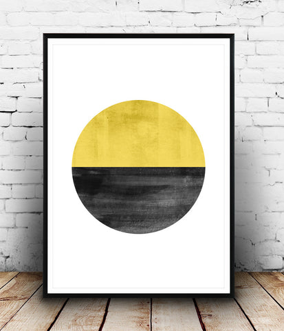Yellow wall art, watercolor abstract print - Wallzilladesign