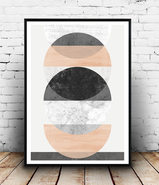 Minimalist circles art, Geometric watercolor print, pink wall art - Wallzilladesign