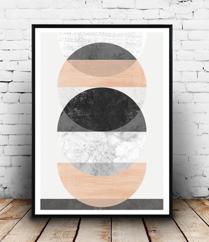 Pink minimalist art, nordic decor, watercolor poster - Wallzilladesign