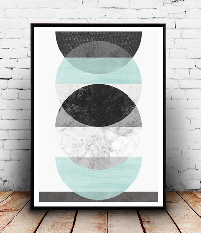Circles print, mint geometric art, watercolor wall decor