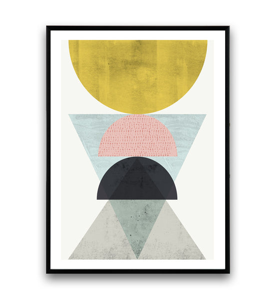 Geometric wall art, abstract art print, watercolor minimalist poster - Wallzilladesign