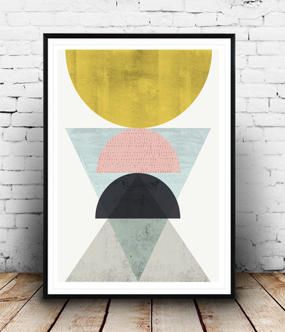 Geometric wall art, abstract art print, watercolor minimalist poster