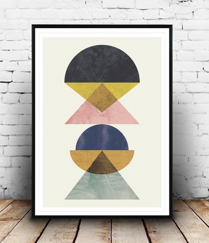 Abstact art, geometric wall decor, watercolor modern art - Wallzilladesign