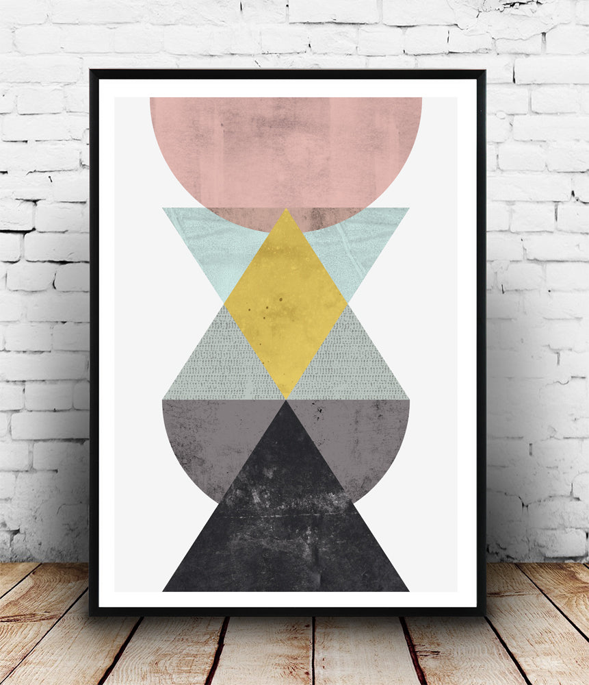 Geometric composition with watercolor texture - Wallzilladesign