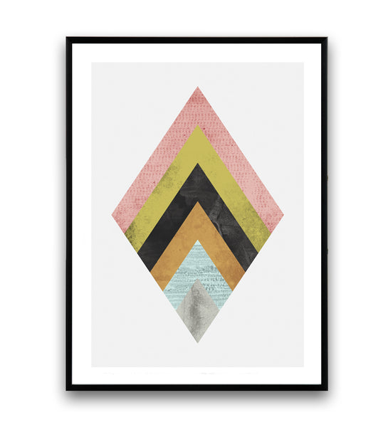 Abstract geometric shape print with watercolor texture