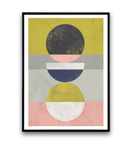 Circles and stripes in pastel colors geometric poster - Wallzilladesign