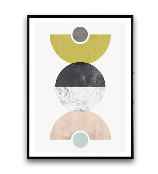 Abstract geometric composition print, yellow, pink and marble - Wallzilladesign