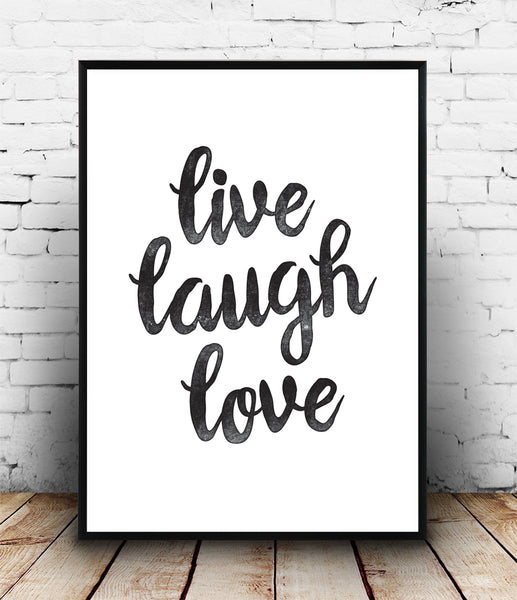 Live, laugh, love typography quote poster - Wallzilladesign