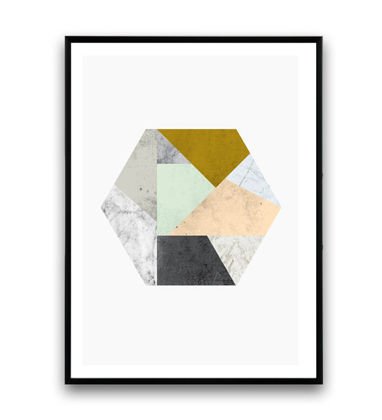 Hexagon with pastel colors and marble textures print