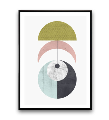 Geomoetric abstract poster with pastel colors - Wallzilladesign