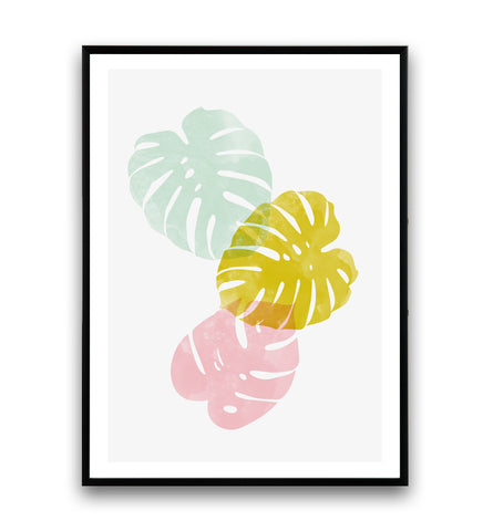 Monstera print, boho chic, botanical art, nature poster