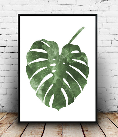 Botanical print, boho chic poster, monstera illustration