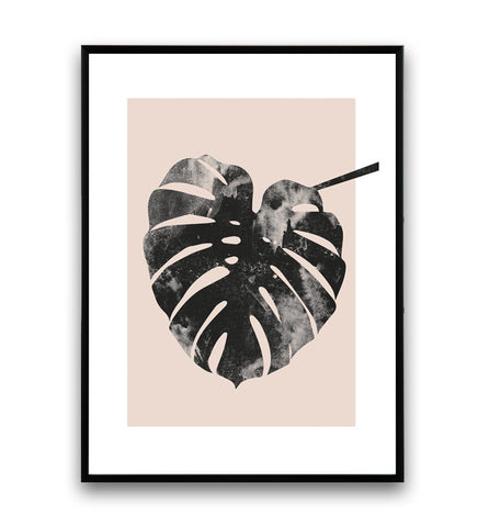 Monstera leaf print, pink wall decor, watercolor art print, nordic design