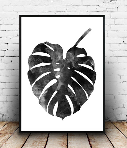 Monstera poster, watercolor print, botanical art - Wallzilladesign
