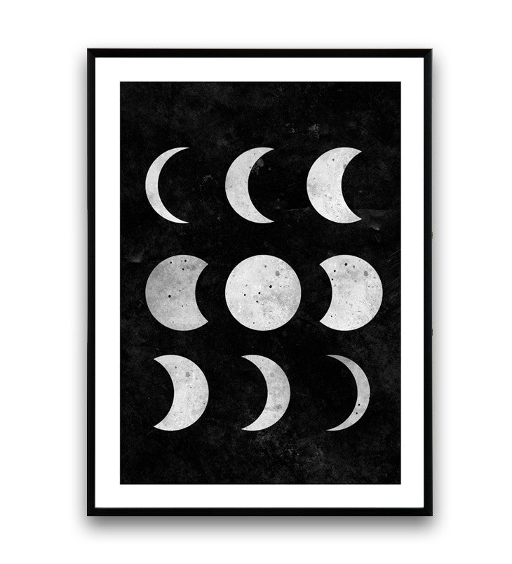 Moon Phases Print Black And White Wall Art Watercolor Poster