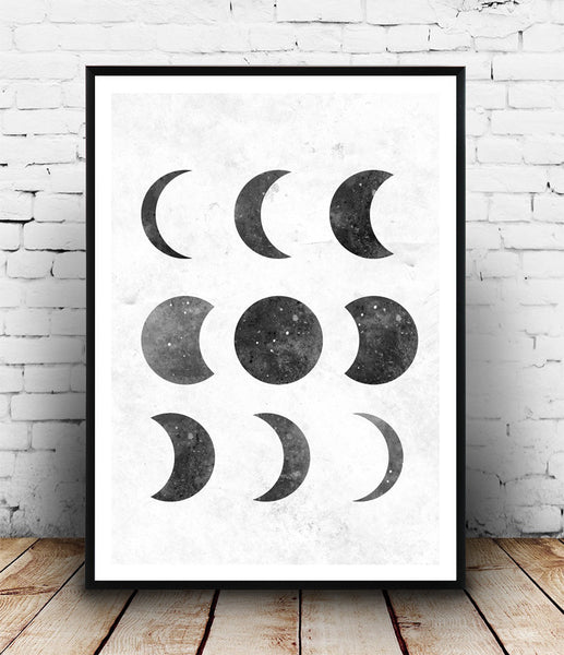 Minimalist moon phases print, black and white art, modern art - Wallzilladesign