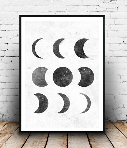 Minimalist moon phases print, black and white art, modern art