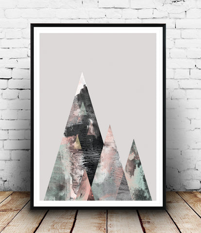 Boho chic print, watercolor abstract art, mountains print, geometric poster