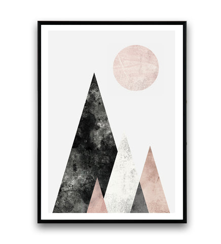 Geometric mountains art print in pink and gray - Wallzilladesign