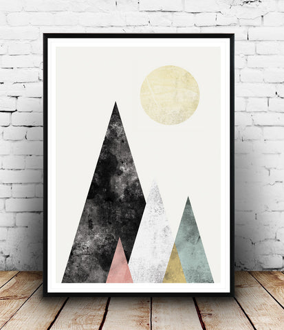 Minimalist Mountains Geometric Scandinavian poster print - Wallzilladesign