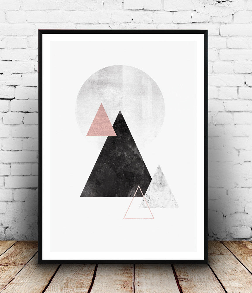Watercolor mountains print, Minimalist modern print, abstract design poster