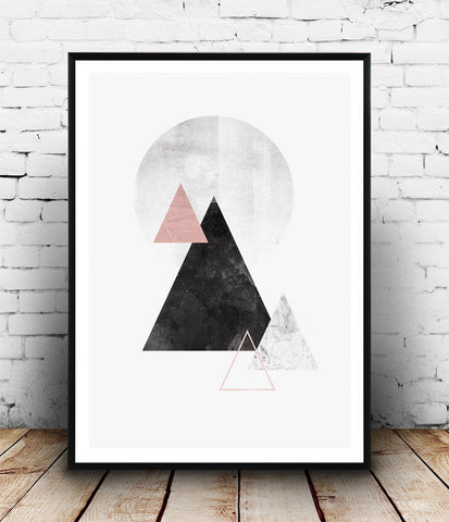 Watercolor mountains print, Minimalist modern print, abstract design poster - Wallzilladesign