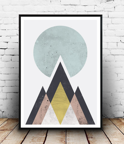 Watercolor print, geometric mountains print, abstract design poster,