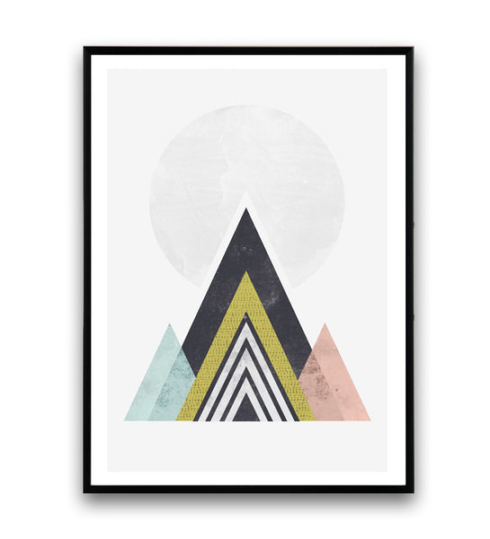 Geometric Abstract print, Mountains art print, Watercolor minimalist print