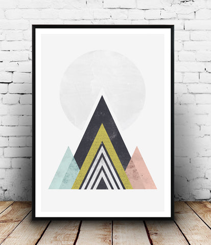 Geometric Abstract print, Mountains art print, Watercolor minimalist print - Wallzilladesign