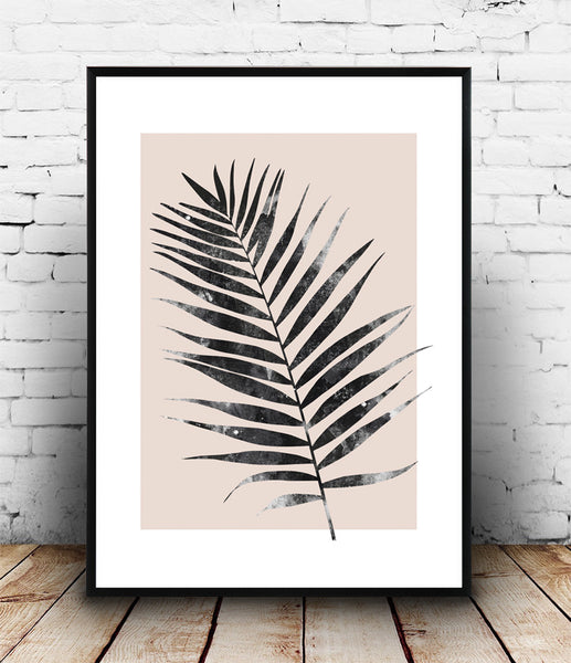 Palm leaf print, pink botanical poster, watercolor art, modern wall decor