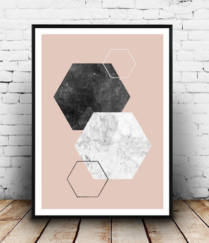 Marble and black watercolor hexagon on pink print - Wallzilladesign
