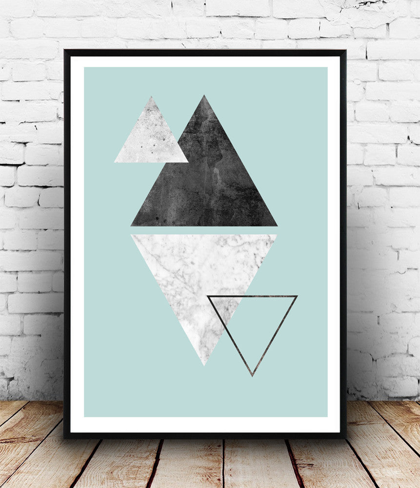 Marble wall art, turqouise abstract print, triangles poster, geometric decor - Wallzilladesign