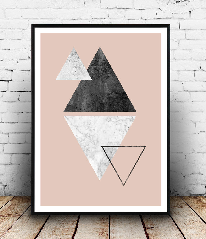 Marble wall art, pink abstract print, triangles poster, geometric decor - Wallzilladesign
